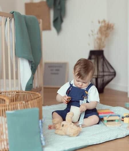 tapis de jeu bébé personnalisé made in france - fleurs bleues