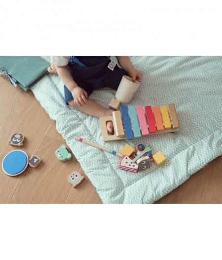 tapis de jeu bébé personnalisé made in france bébé - fleurs bleues