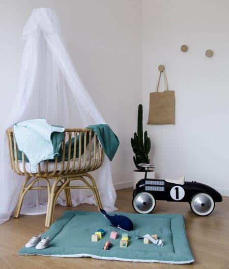 tapis de jeu bébé personnalisé made in france autre - fleurs bleues