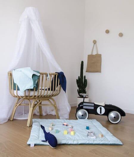 tapis de jeu bébé personnalisé made in france coté - fleurs bleues