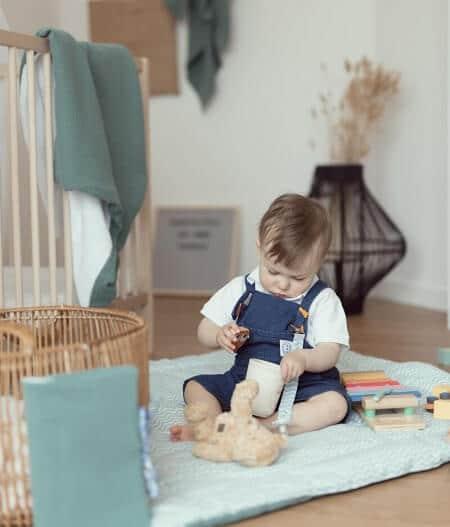 couverture plaid bébé made in france personnalisée tapis - fleurs bleues