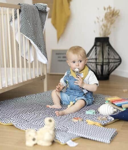 couverture plaid bébé made in france personnalisée tapis - colonel moutarde