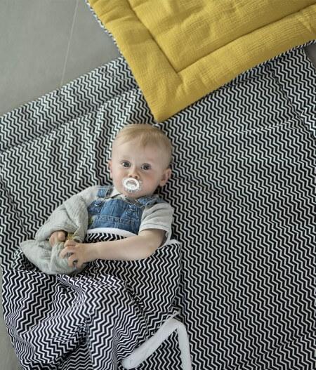 couverture plaid bébé made in france personnalisée tapis sol - colonel moutarde