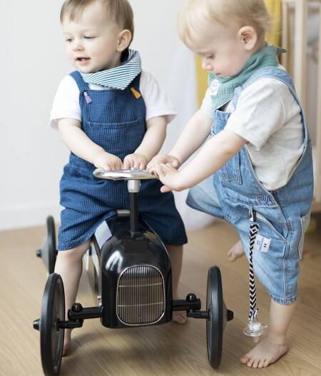 attache tétine personnalisée deux bébés - colonel moutarde